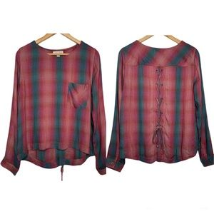 Cloth & Stone Anthropologie Plaid Lace Up Back Top